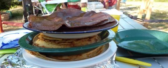 Platte koek in pan feest